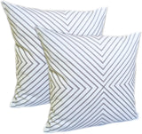 FanHomcy 2 Pack Throw Pillows Cushion Covers Embroidered Cotton Accent Decorative for Couch 18 x 18 Inch,Grey Stripe