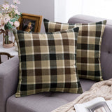 MIULEE Pack of 2 Decorative Throw Pillow Covers Checkered Plaids Tartan Cotton Linen Rustic Farmhouse Square Cushion Case for Bench Sofa Couch Car Bedroom Coffee and Brown 18x18 inch 45x45 cm