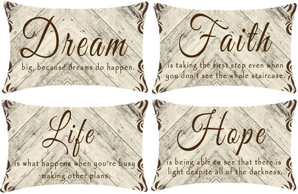 NIDITW Set of 4 Farmhouse Rustic Gift Dream Hope Life Faith Vintage Retro Wood Texture Lumbar Burlap Throw Pillow Cover Pillow Case Cushion Cover Sofa Decorative Rectangle 12x20 Inches