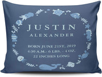 MUKPU Home Custom Pillowcase Sea Animals Border Baby Announcement Blue Simple and Chic Throw Pillowcase Cushion Cover One Sided Printed Design Boudoir 12x18 Inches