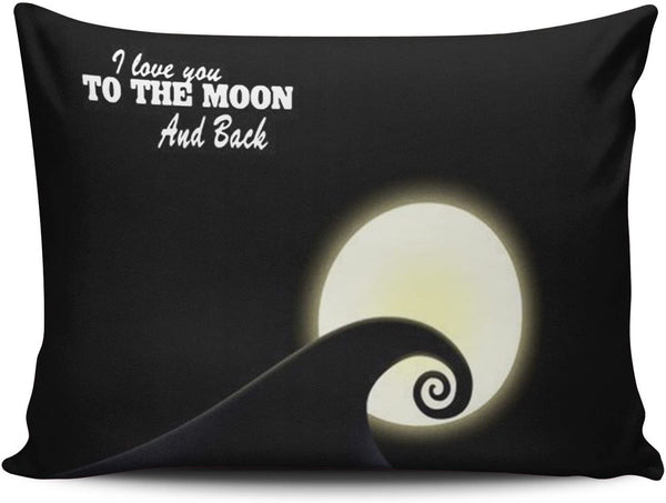KEIBIKE Personalized I Love You to the Moon and Back Nightmare Before Christmas Pattern Boudoir Rectangle Decorative Pillowcases Retro Zippered Throw Pillow Covers Cases 12x18 Inches One Sided