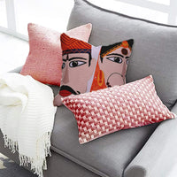 "Decozen Decorative Throw Pillow with Insert 18""x18"" inches in 1 Set Traditional Face Art Print & Embroidery for Couch Sofa Bed Living Room Bedroom Farmhouse Patio"