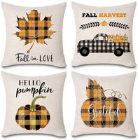 Kithomer Set of 4 Fall Harvest Throw Pillow Cases Buffalo Plaids Farmhouse Decorative Thanksgiving Throw Pillow Covers Cotton Linen Cushion Cover 18x18 inch