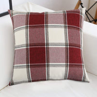 cinsey Decorative Throw Pillow Covers, Classic Retro Checkers Plaids Red White Cotton Linen Buffalo Check Square Cushion Covers Farmhouse Decor for Couch Bed,Pack of 2 (Plaid red White, 18x18inch)
