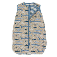 Kickee Pants Little Boys Print Quilted Sleeping Bag - Burlap Sharks/Oceanography Stripe, 0-6 Months