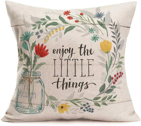 Fukeen Inspirational Quotes Throw Pillow Cases Bloom Leaves Decorative Cotton Linen Cushion Covers Standard Vintage Wood Background Farmhouse Decor 18x18 Inches Pillowslip, Enjoy The Little Things