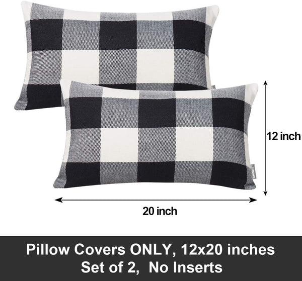 ONWAY Buffalo Check Pillow Covers Black and White Lumbar Pillow Cover Farmhouse Decor for The Home and Patio, 12x20 Inch, Set of 2, Black/White