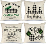 AENEY Farmhouse Christmas Pillow Covers 18x18 inch Set of 4 for Home Decor Black Buffalo Check Christmas Decor Farmhouse Christmas Pillows Buffalo Plaid Christmas Decorations Throw Pillow Covers