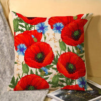 uniquepig Red Poppies Seamless Cotton Linen Throw Pillow Covers 18 x 18 Farmhouse Decorative Square Pillow Cases Home Decor for Sofa for Couch