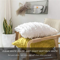 GIGIZAZA Decor Throw Couch Pillow Covers,18x18 Cotton White Sofa Pillows,Square Sofa Cushion Covers Linen (White, 18x18inch-2pcs)