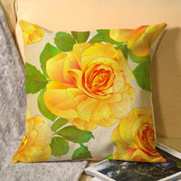 uniquepig Seamless Texture Rose Yellow and Leaves Nature Cotton Linen Throw Pillow Covers 18 x 18 Farmhouse Decorative Square Pillow Cases Home Decor for Sofa for Couch