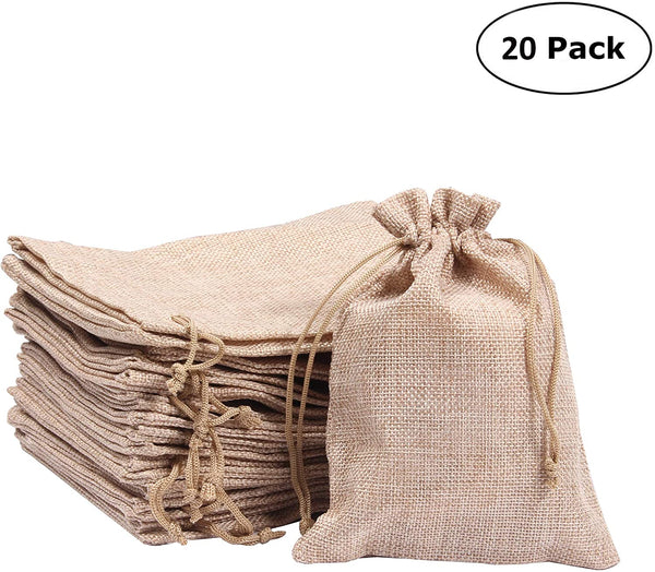 AllGoodWare 20 Pieces Burlap Bags with Drawstring, 5.1 × 6.9 inch Wedding Favor Bag Candy Pouch for Party Favor Snacks Crafts Present Christmas