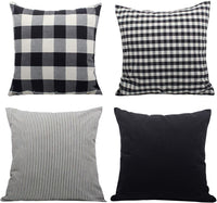 CANIRICA Pack of 4,100% Cotton Solid Farmhouse Decorative Throw Pillow Covers with Invisible Zipper Rustic Cushion Cases for Sofa Bed 18x18 Inches(Black,45x45cm)