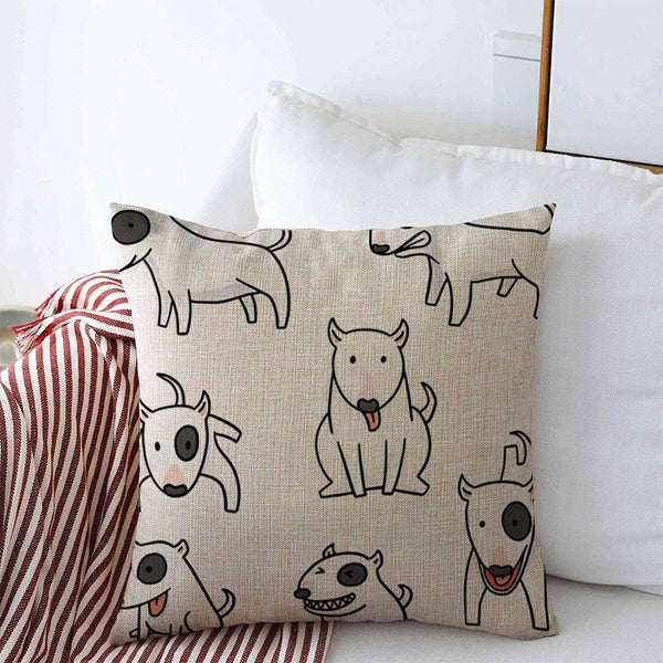 Throw Pillow Case Dog Bull Terrier Character Jump Sketch Doodle Cute Line Design Comic Farmhouse Decorative Square Covers 16x16 in for Home Sofa Couch Decor