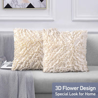 Leeden Throw Pillow Covers 18 x 18 Square Set of 2 Decorative Pillowcase Cusion Cases for Sofa Couch Bed Bedroom Room Chair Car Home Décor Pillow Covers Ultra Soft Cream,18x18 inch(45x45cm)