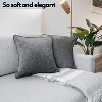 RoseGlamique Elegant Soft Grey Throw Pillow Covers (Set of 2 Throw Pillow Cover) Soft Texture Couch Pillows -16 x 16 Throw Pillow Set - Sofa Pillow - Decorative Pillow Covers - Farmhouse Pillow Covers