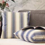 JOJUSIS Stripe Throw Pillow Covers Farmhouse Pillowcases Pack of 2 18 x 18 Inch Blue
