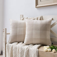 Nestinco Set of 2 Farmhouse Beige and White Buffalo Check Pillow Covers Decorative Linen Throw Pillow Covers 18 x 18 inches for Couch Sofa Farmhouse Decor