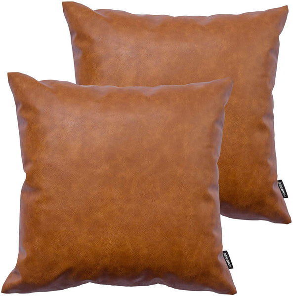 HOMFINER Decorative Throw Pillow Covers 20 x 20 inch Faux Leather, Set of 2 Thick Cognac Brown Modern Boho Farmhouse Decor Square Bedroom Living Room Cushion Cases for Couch Bed Sofa