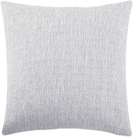 Jepeak Burlap Linen Throw Pillow Cover Rhombus Pattern Cushion Case, Solid Thickened Farmhouse Modern Decorative Square Luxury Pillow Case for Sofa Couch Bed (Off White/Grey, 18 x 18 Inches)
