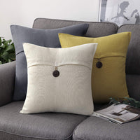 Phantoscope Pack of 2 Farmhouse Throw Pillow Covers Button Vintage Linen Decorative Pillow Cases for Couch Bed and Chair Yellow 12 x 20 inches 30 x 50 cm