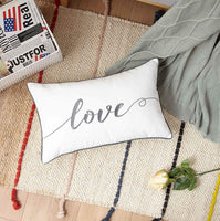 Sanmetex Love Lumbar Throw Pillow for Farmhouse Home/Bedding Decor,Great Gifts for Thanksgiving Day, Christmas. 1220 Inch (Ivory)
