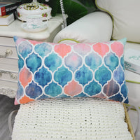 CaliTime Pack of 2 Cozy Throw Pillow Cases Covers for Couch Bed Sofa Farmhouse Manual Hand Painted Colorful Geometric Trellis Chain Print 16 X 16 Inches Main Grey Coral Pink