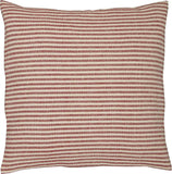 "Piper Classics Homespun Red Ticking Stripe Pillow Cover, 20"" x 20"", Primitive Rustic Farmhouse Décor, Natural Woven Cream w/Red Stripes"