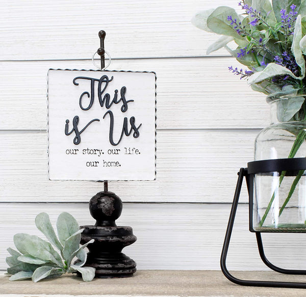 AuldHome Rustic This is Us Sign, Wall or Freestanding Farmhouse Sign, Distressed Whitewashed Style with Galvanized Metal Frame, 7.5 x 6 Inches