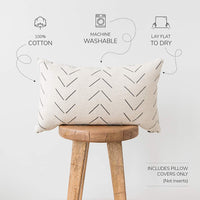 Woven Nook Decorative Lumbar Throw Pillow Cover ONLY for Couch, Sofa, or Bed 12x20 12x26 12x40 inch Modern Quality Design 100% Thick Woven Cotton Mudcloth MAZA Lumbar (12'' x 26'')