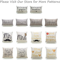 "Hofdeco Decorative Lumbar Pillow Cover HEAVY WEIGHT Cotton Linen His and Her Tan Home Sweet Home Love Is All You Need 12""x20"" 30cm x 50cm Set of 2"
