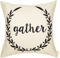 Fahrendom Rustic Gather Olive Branch Vine Wreath Vintage Country Style Retro Farmhouse Quote Gift Cotton Linen Home Decorative Throw Pillow Case Cushion Cover with Words for Sofa Couch 18 x 18 Inch