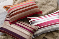 Rustic farmhouse pillow covers Decorative boho throw pillow covers Velvet pillow covers Velvet striped lumbar pillow cover Accent pillow Decorative sofa pillow covers for couch , bed (Gold/Red) 12x20