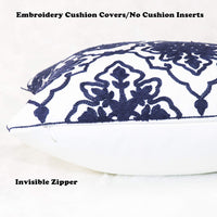 SLOW COW Cotton Embroidery Decorative Cushion Covers Navy Blue Bohemian Flower Throw Pillow Covers 18 x18 inches, Pack of 2