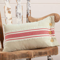 "Piper Classics Farmhouse Red Grain Sack Stripe Throw Pillow Cover, 12"" x 20"", Country Primitive or Farmhouse Home Accent"