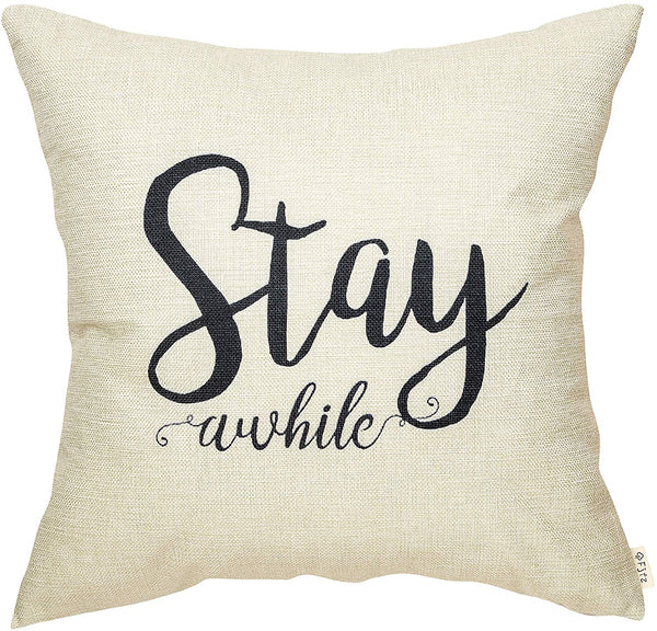 "Fjfz Rustic Stay Awhile Farmhouse Decoration Retro Country Style Motivational Gift Décor Cotton Linen Home Decorative Throw Pillow Case Cushion Cover with Words for Sofa Couch, 18"" x 18"""