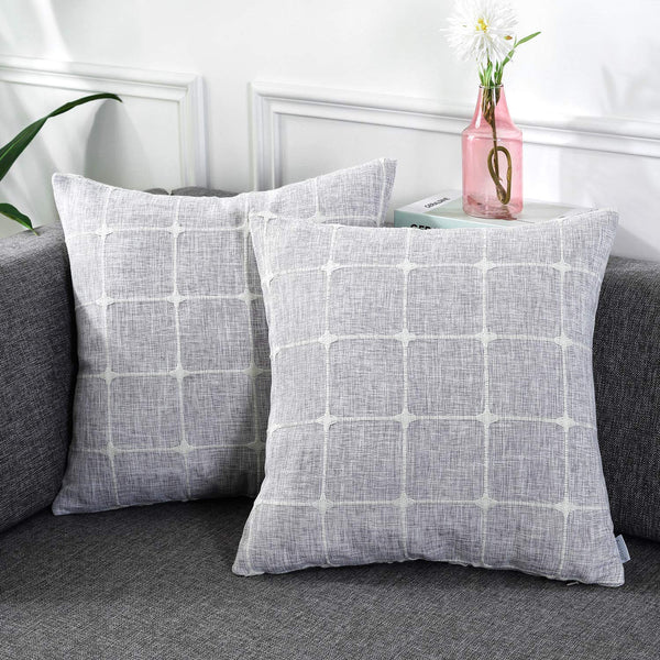 AmHoo Pack of 2 Farmhouse Plaid Decorative Throw Pillow Covers Modern Jacquard Pillowcases Faux Linen Cushion Covers Set for Sofa Couch Bedroom,18×18inch,Light Gray