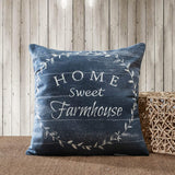 Rustic Vintage Farmhouse Cotton Decorative Throw Pillow Cover - Home Sweet Farmhouse (18x18, Set of 2,Navy Blue)