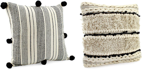 AuldHome Boho Farmhouse Throw Pillow Covers, 16 x 16 Black and Off White