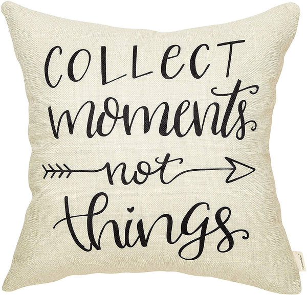 Fahrendom Rustic Collect Moments Not Things Farmhouse Quote Decor Retro Lifestyle Sign Decoration Cotton Linen Home Decorative Throw Pillow Case Cushion Cover with Words for Sofa Couch 18 x 18 in