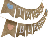 Rustic Burlap Twice Blessed Banner,Twins Baby Shower Gender Reveal Party Supplies and Decorations,Pregnancy Photo Prop,Twin Boys Girls Bunting for Nusery Room Decor
