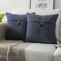 Phantoscope Pack of 2 Farmhouse Throw Pillow Covers Button Vintage Linen Decorative Pillow Cases for Couch Bed and Chair Navy Blue 20 x 20 inches 50 x 50 cm