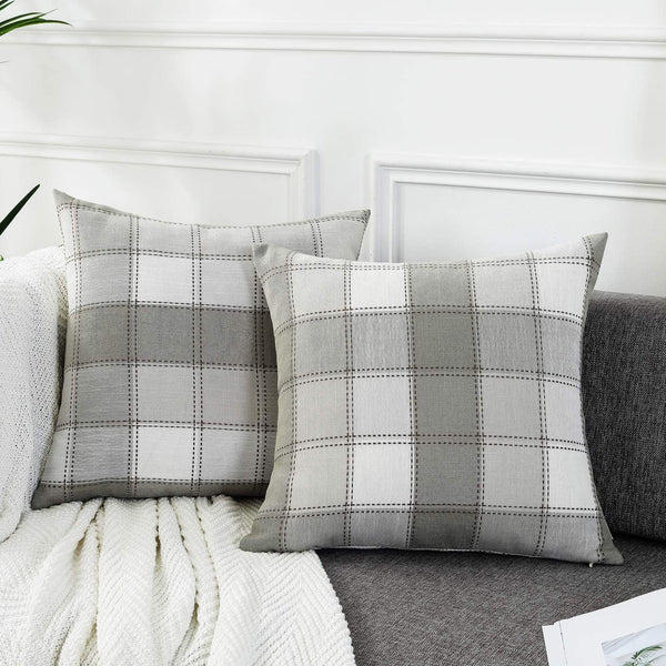 AmHoo Pack of 2 Farmhouse Plaid Check Throw Pillow Covers Set Case Cotton Linen Decorative Pillowcases Cushion Cover for Couch Bench Sofa,18x18inch,Light Grey,2 Pieces