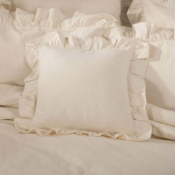 Piper Classics Ashley Natural Ruffled Pillow Cover, 18x18, Farmhouse Style Beige Cream Throw Pillow Cover