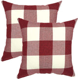 YOUR SMILE Retro Farmhouse Buffalo Tartan Chequer Plaid Cotton Linen Decorative Throw Pillow Case Cushion Cover Pillowcase for Sofa,Set of 2 (Red, 18''x18'')
