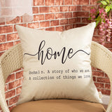 "Fjfz Rustic Farmhouse Decorative Throw Pillow Cover Home, a Story of Who We Are, a Collection of the Things We Love Family Sign Decoration Home Decor Cotton Linen Cushion Case for Sofa Couch, 18"" x 18"