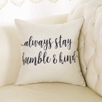 "Fjfz Rustic Always Stay Humble and Kind Lifestyle Sign Farmhouse Décor Motivational Decoration Cotton Linen Home Decorative Throw Pillow Case Cushion Cover with Words for Sofa Couch, 18"" x 18"""