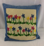 "Vintage Feather Throw Pillow Needlepoint Flowers 14"" Handmade Country Farmhouse"