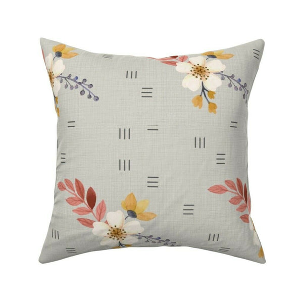 Farmhouse Dogwood Floral Throw Pillow Cover w Optional Insert by Roostery
