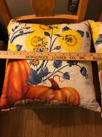 Sunflower And Pumpkin Decorative Pair Of Throw Pillows New